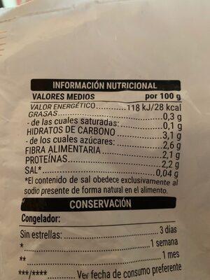Arroz de coliflor - Informations nutritionnelles