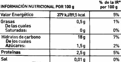 Arroz 3 delicias con verduras congelado - Información nutricional - es