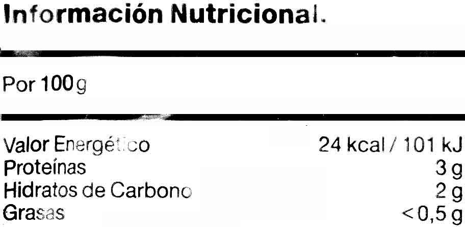 """Brócoli troceado congelado """"La Sirena"""" - Información nutricional"""