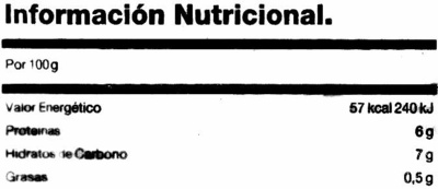 "Habas congeladas ""La Sirena"" - Nutrition facts - es"