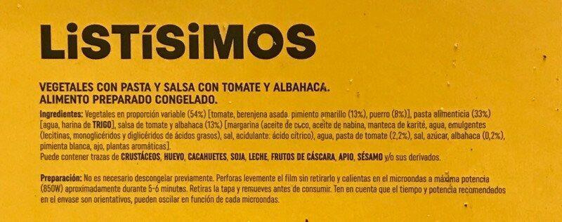 Listisimos punto pasta con vegetales salsa de tomate y albahaca - Ingrédients