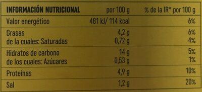 Arroz negro - Información nutricional - es