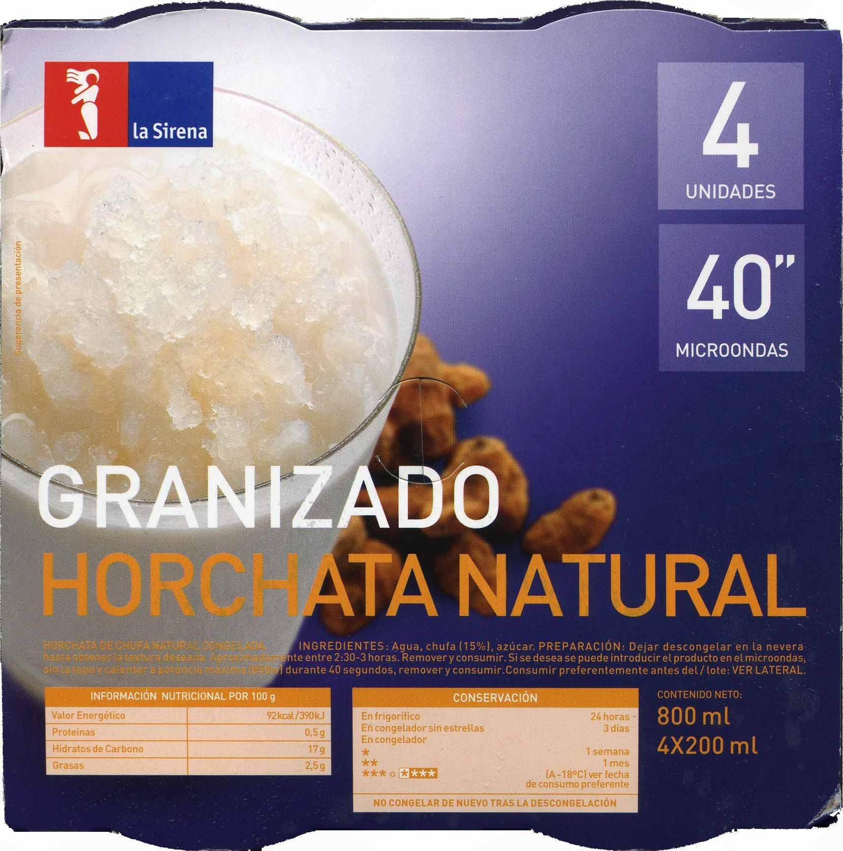 Granizado horchata natural - Product - es