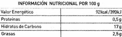 Granizado horchata natural - Nutrition facts - es