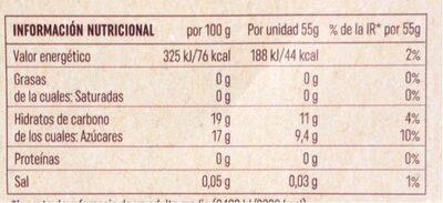 Sorbete frambuesa - Información nutricional - es