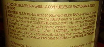 Dolce Rita helado de vainilla y nueces de macadamia - Ingredientes
