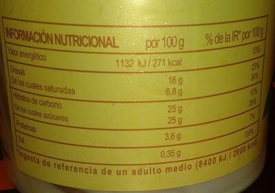 Dolce Rita helado de vainilla y nueces de macadamia - Información nutricional