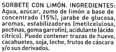 Sorbete con limon - Ingredients - es