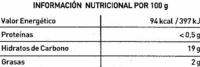 Polos de horchata - Información nutricional - es