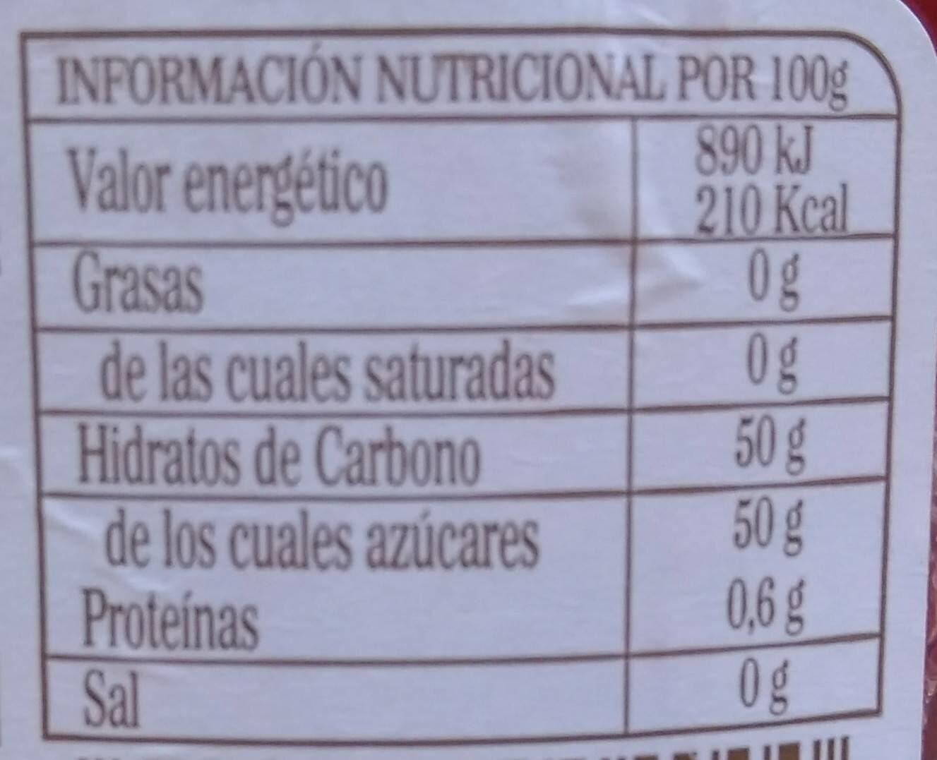 Mermelada de frambuesas - Nutrition facts - la