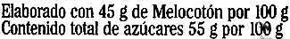 """Mermelada de melocotón """"La Vieja Fábrica"""" - Información nutricional"""