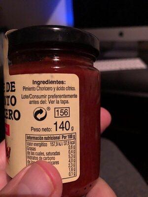 Carne de pimiento choricero - Ingredients