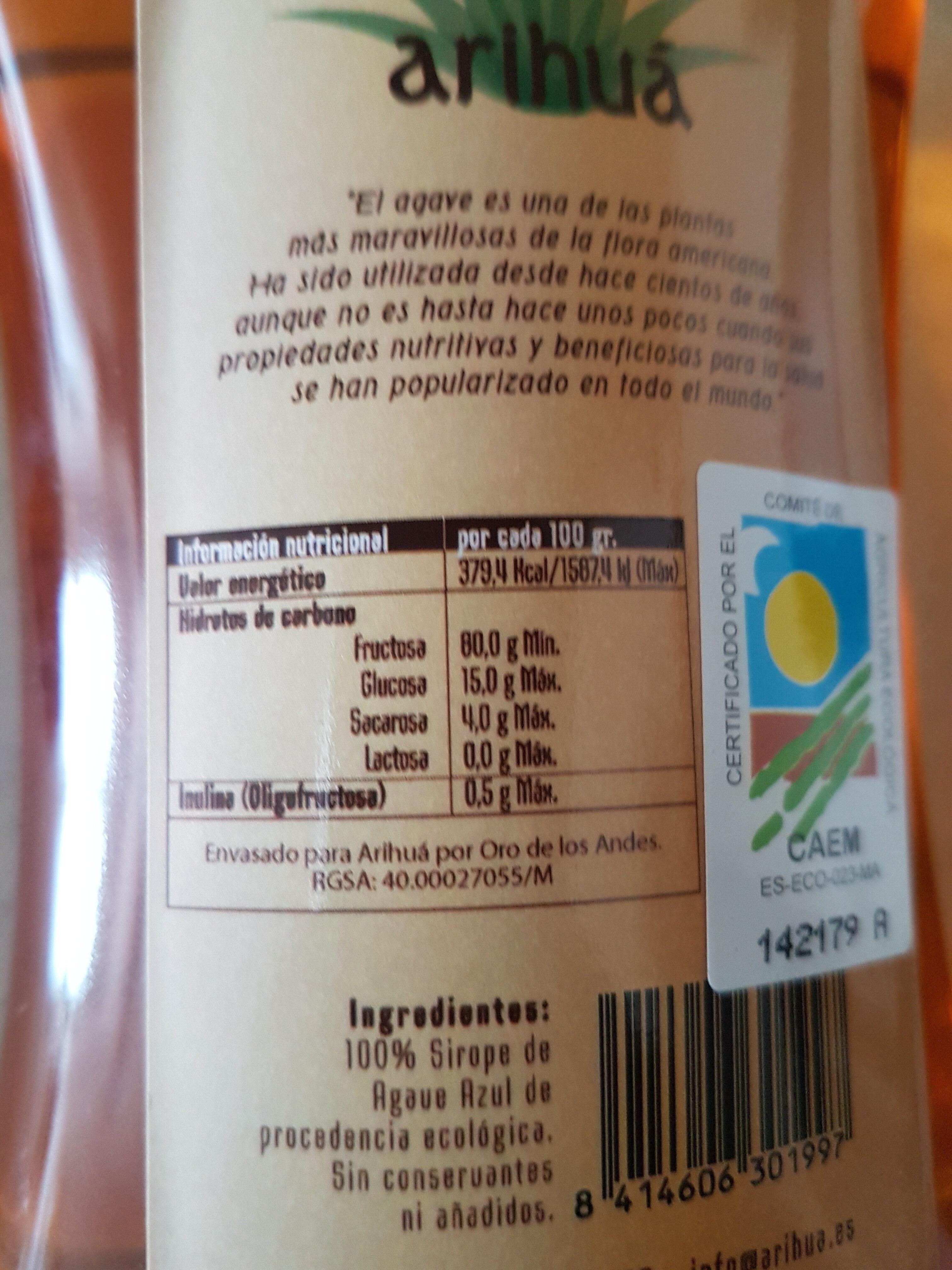 Néctar de agave - Información nutricional