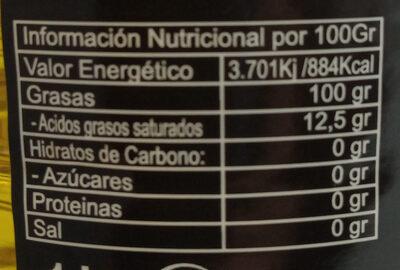 Aceite de oliva Virgen Extra Variedad arbequina - Voedingswaarden - es