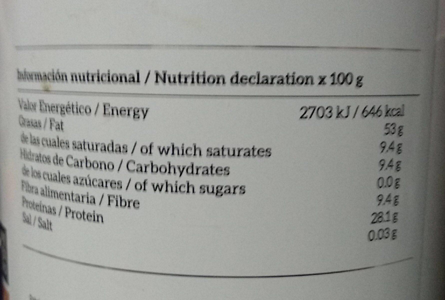 Crema de cacahuete - Información nutricional - es