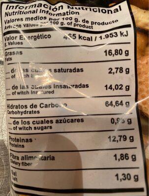 Regañas artesanas - Información nutricional