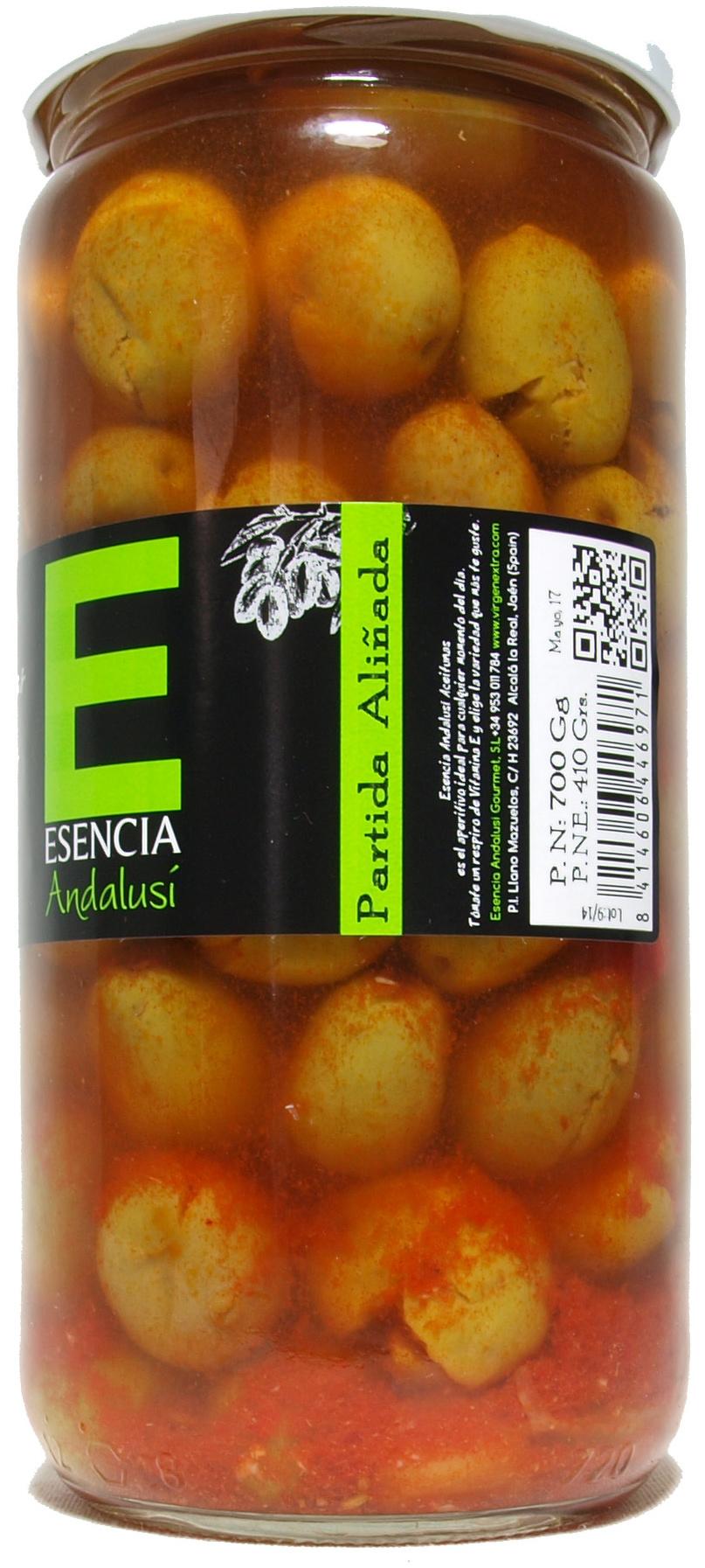 """Aceitunas verdes partidas aliñadas """"Esencia Andalusí"""" - Producto"""