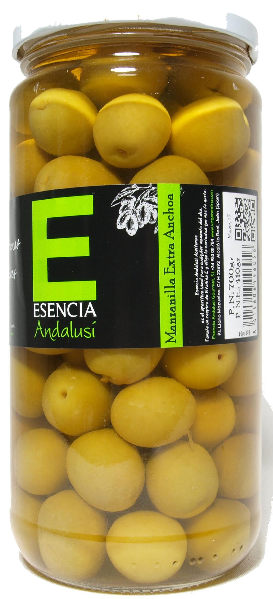 """Aceitunas verdes enteras """"Esencia Andalusí"""" Variedad Manzanilla - Producto - es"""