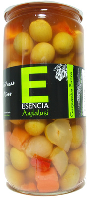 """Aceitunas verdes aliñadas a la gazpacha """"Esencia Andalusí"""""""