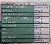 Agua De Mar Cocinar Aqua De Mar - Información nutricional - es