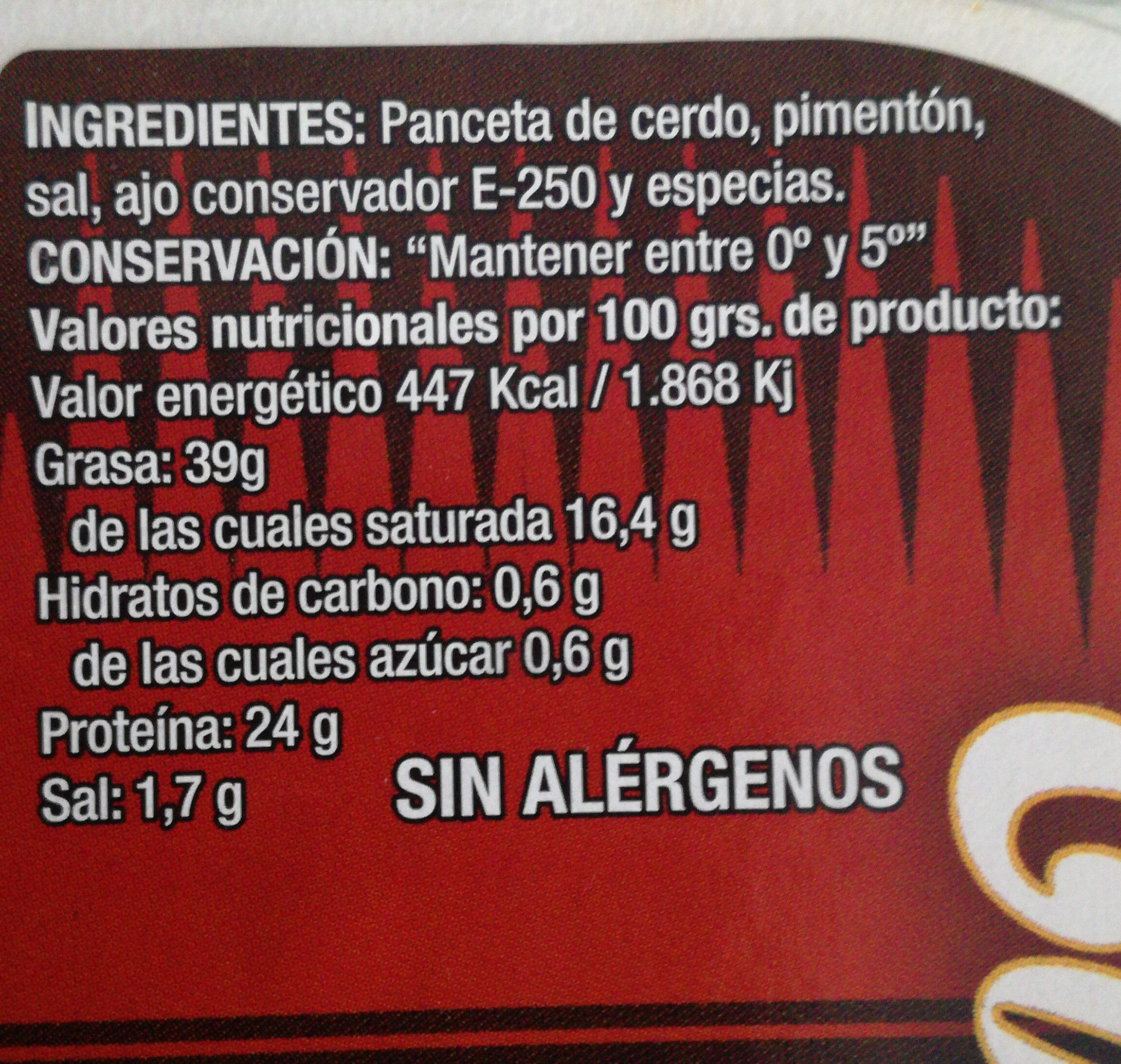 Torreznos la despensa - Ingredients - es