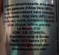 BEBIDA ALOE SABOR GRANADA ALO E - Ingredients - fr