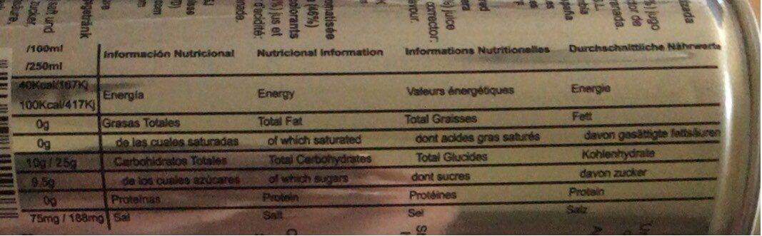 BEBIDA ALOE SABOR GRANADA ALO E - Nutrition facts - fr