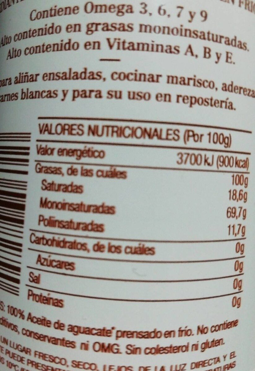 Aceite de aguacate - Nutrition facts