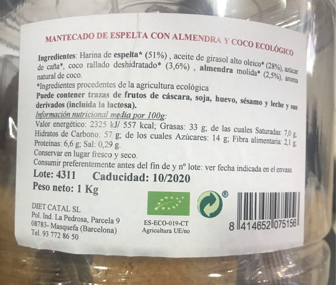 Mantecado de Espelta - Información nutricional - es