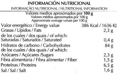 "Tostadas ""Special Line"" Maíz - Información nutricional"