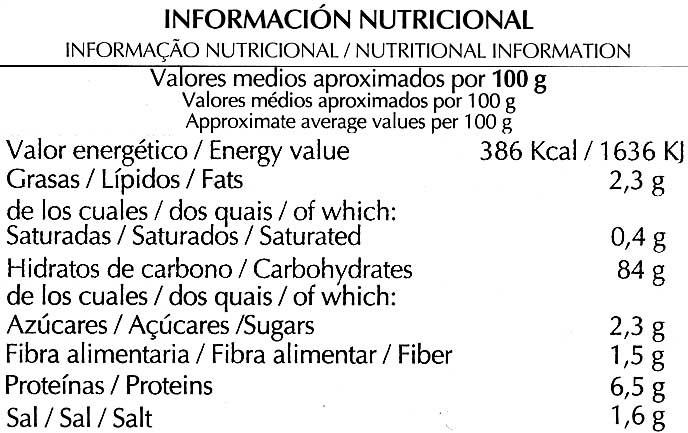"""Tostadas """"Special Line"""" Maíz - Información nutricional - es"""