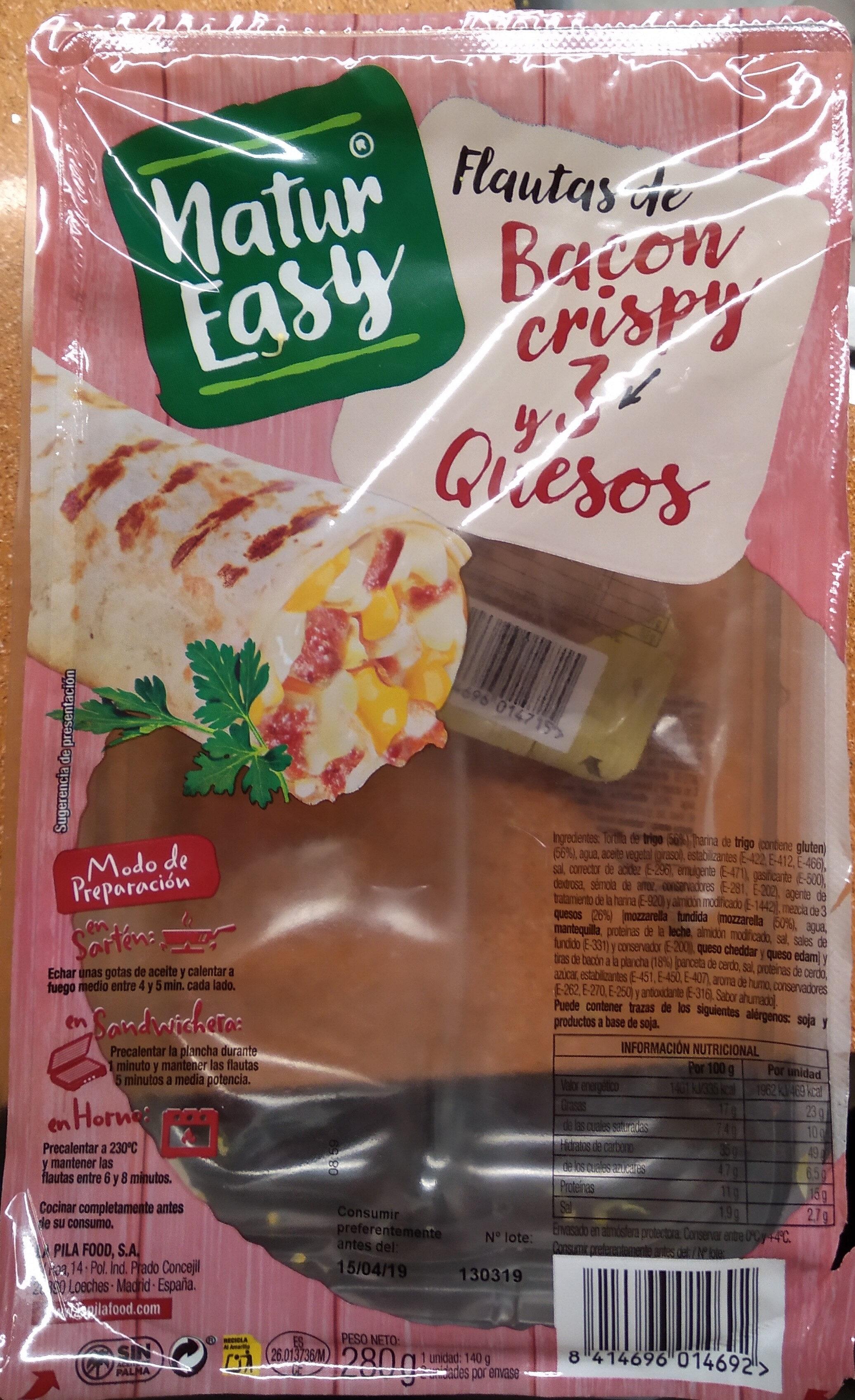 Flautas de bacon crispy y 3 quesos - Product - es
