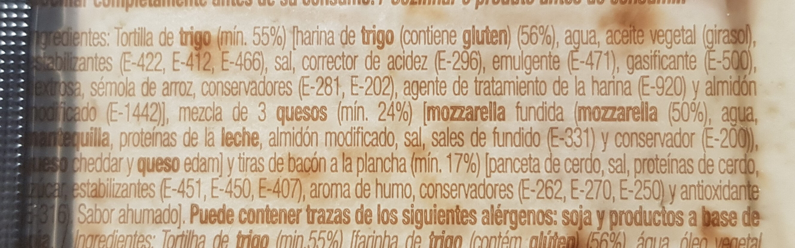 Flautas de bacon crispy y 3 quesos - Ingredientes - es