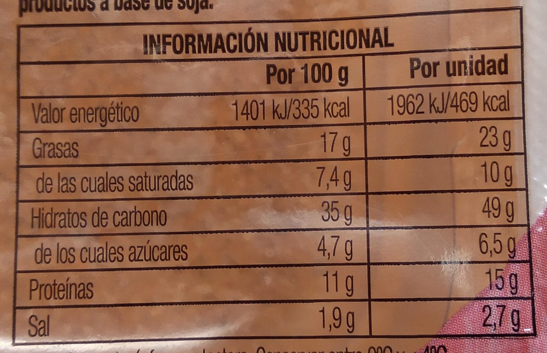 Flautas de bacon crispy y 3 quesos - Informació nutricional
