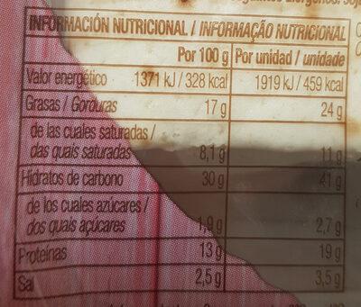 Flautas de bacon crispy y 3 quesos - Información nutricional - es