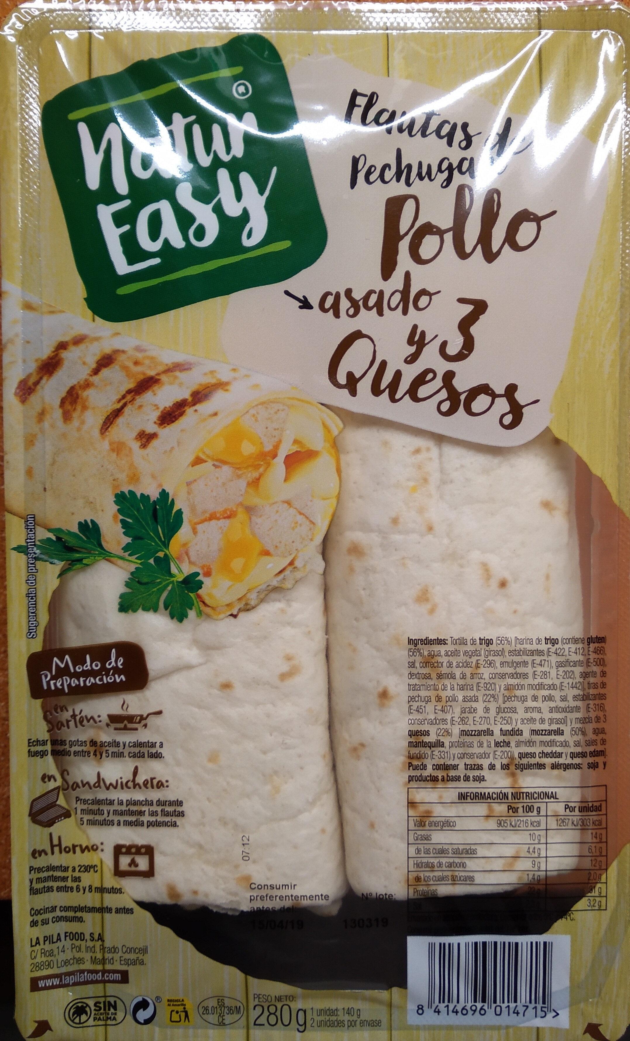 Flautas de pechuga de pollo asado y 3 quesos - Producto