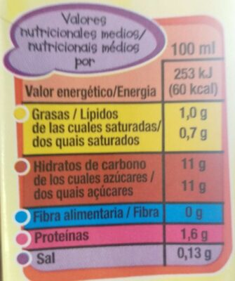 Batido Vainilla - Valori nutrizionali - es