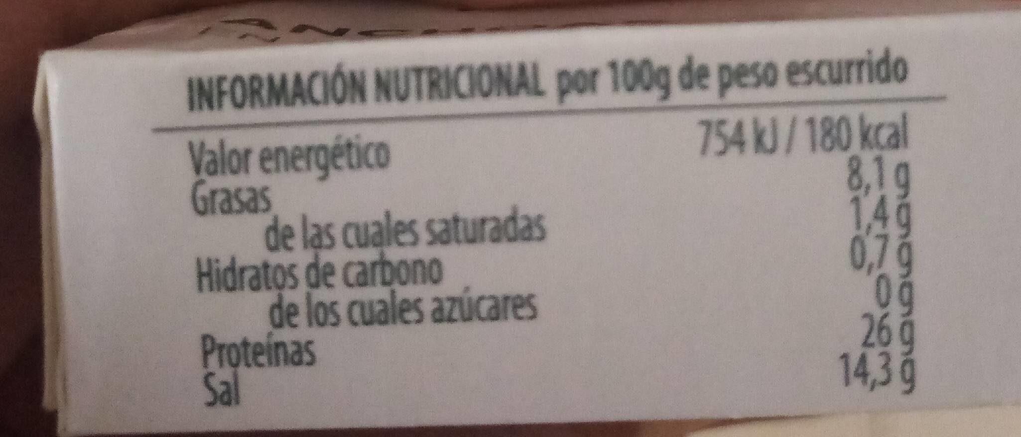 Anchoa En Aceite De girasol - Información nutricional - es