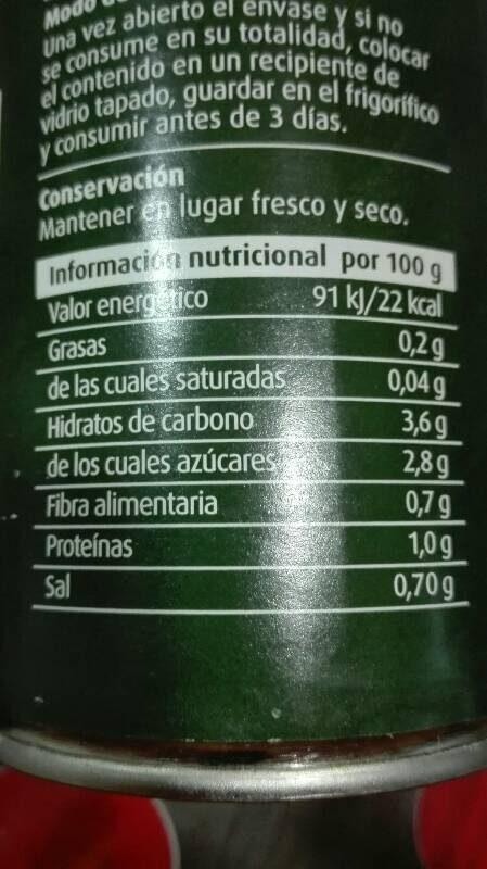 Tomate triturado - Ingredientes