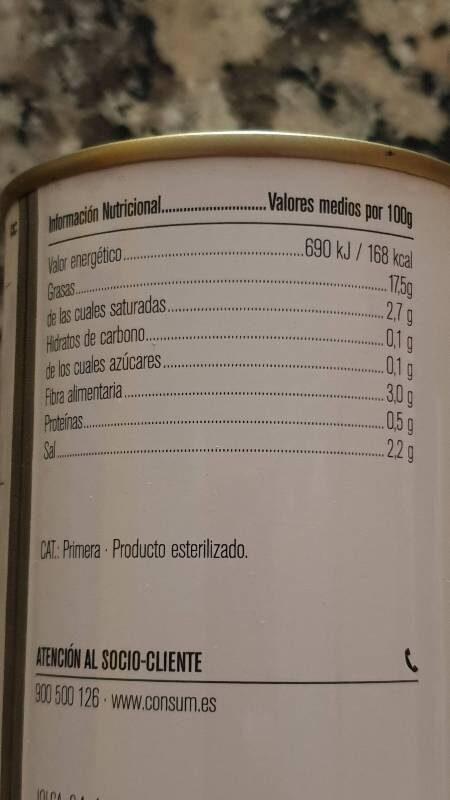 Aceitunas negras cacereña - Nutrition facts - es