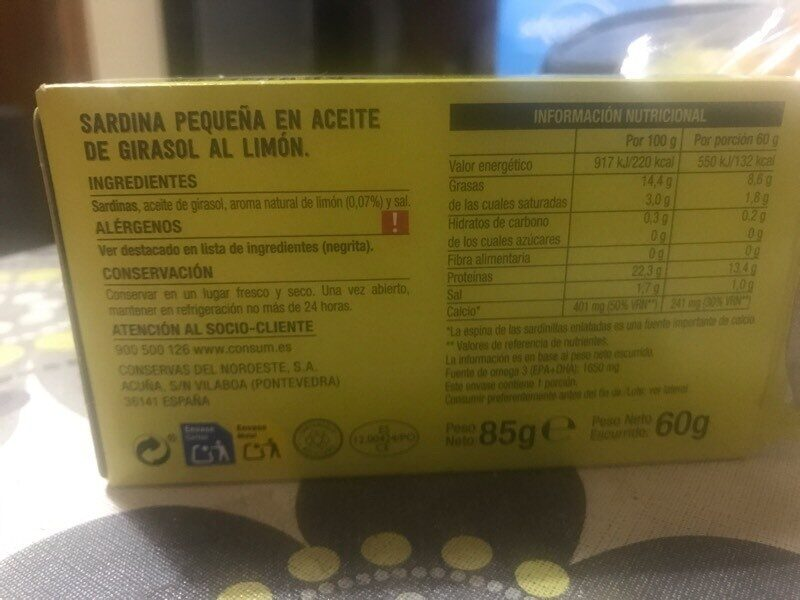 Sardinillas al limón - Ingrédients - es