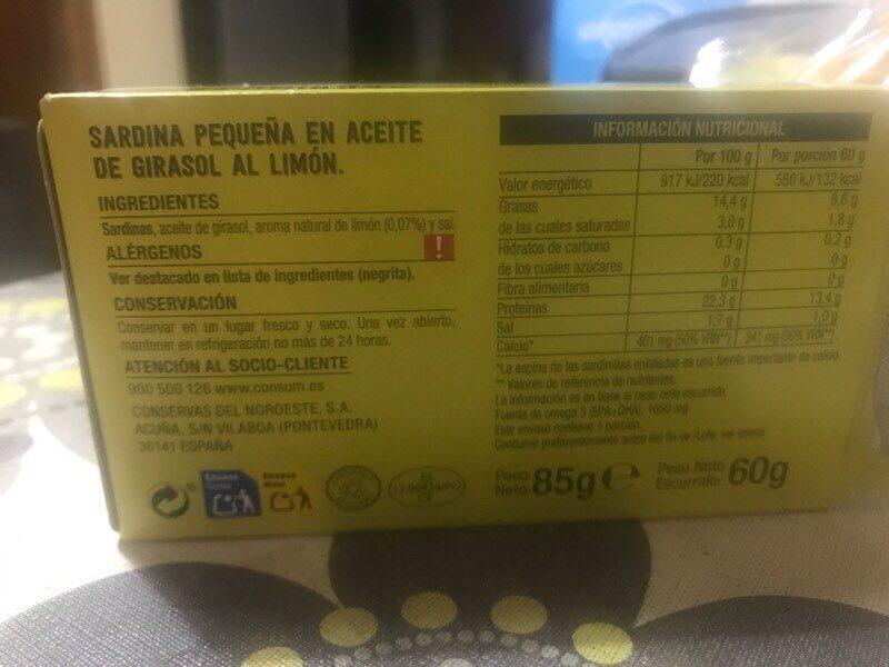 Sardinillas al limón - Informations nutritionnelles - es