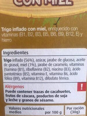 Trigo inflàdo con miel - Ingredients