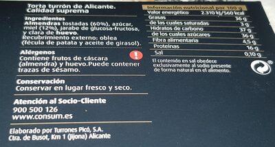 Torta turron de Alicante - Información nutricional - es
