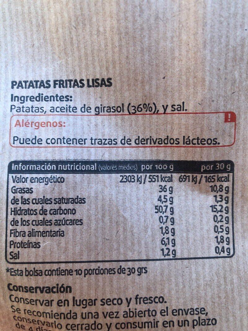 Patatas fritas tradicionales con aceite de girasol - Nutrition facts - es