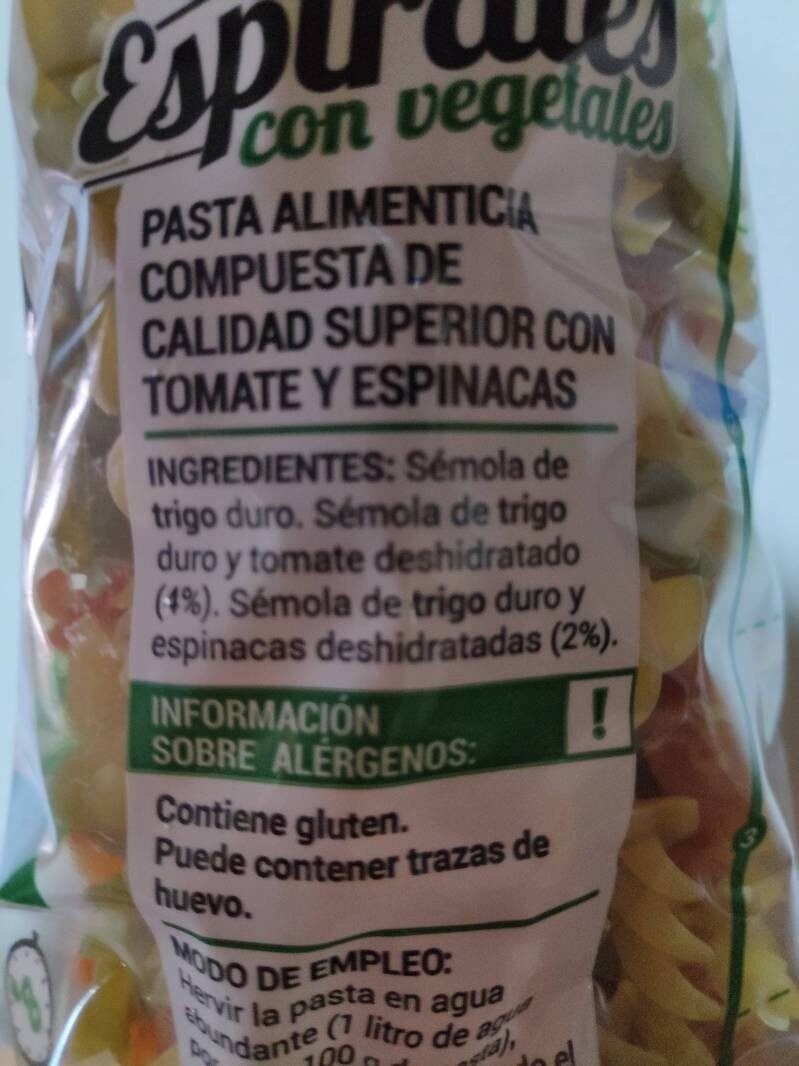 Espirales con vegetales - Ingrédients