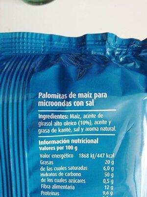 Palomitas de Maiz con sal - Ingredients