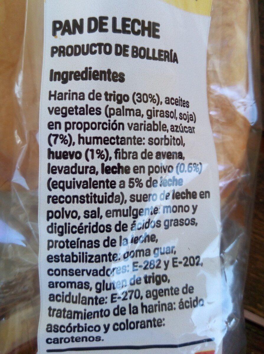 Pan de leche - Ingredientes