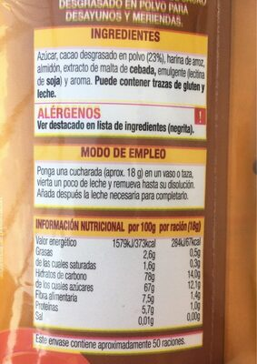 Cacao soluble consum lucia - Nutrition facts