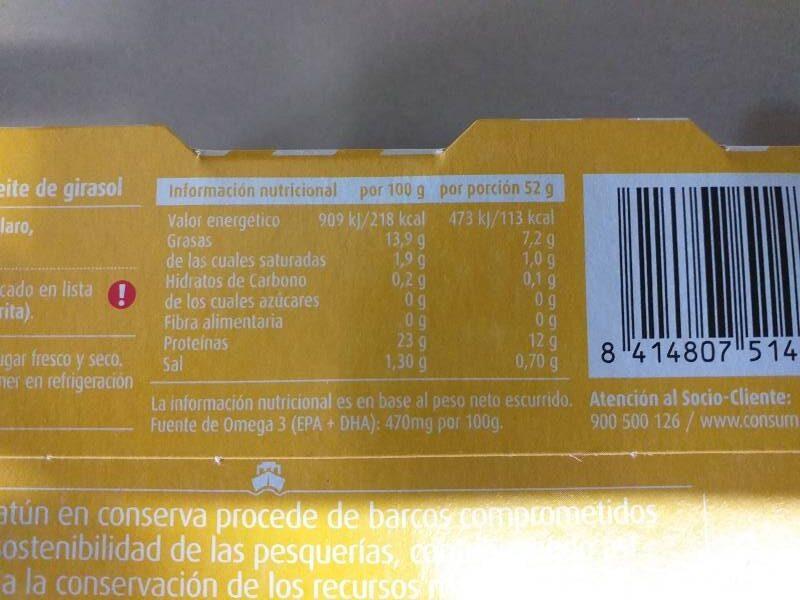 Atún claro en aceita de girasol - Informations nutritionnelles